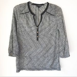 The Limited Popover Blouse Womens M Black White
